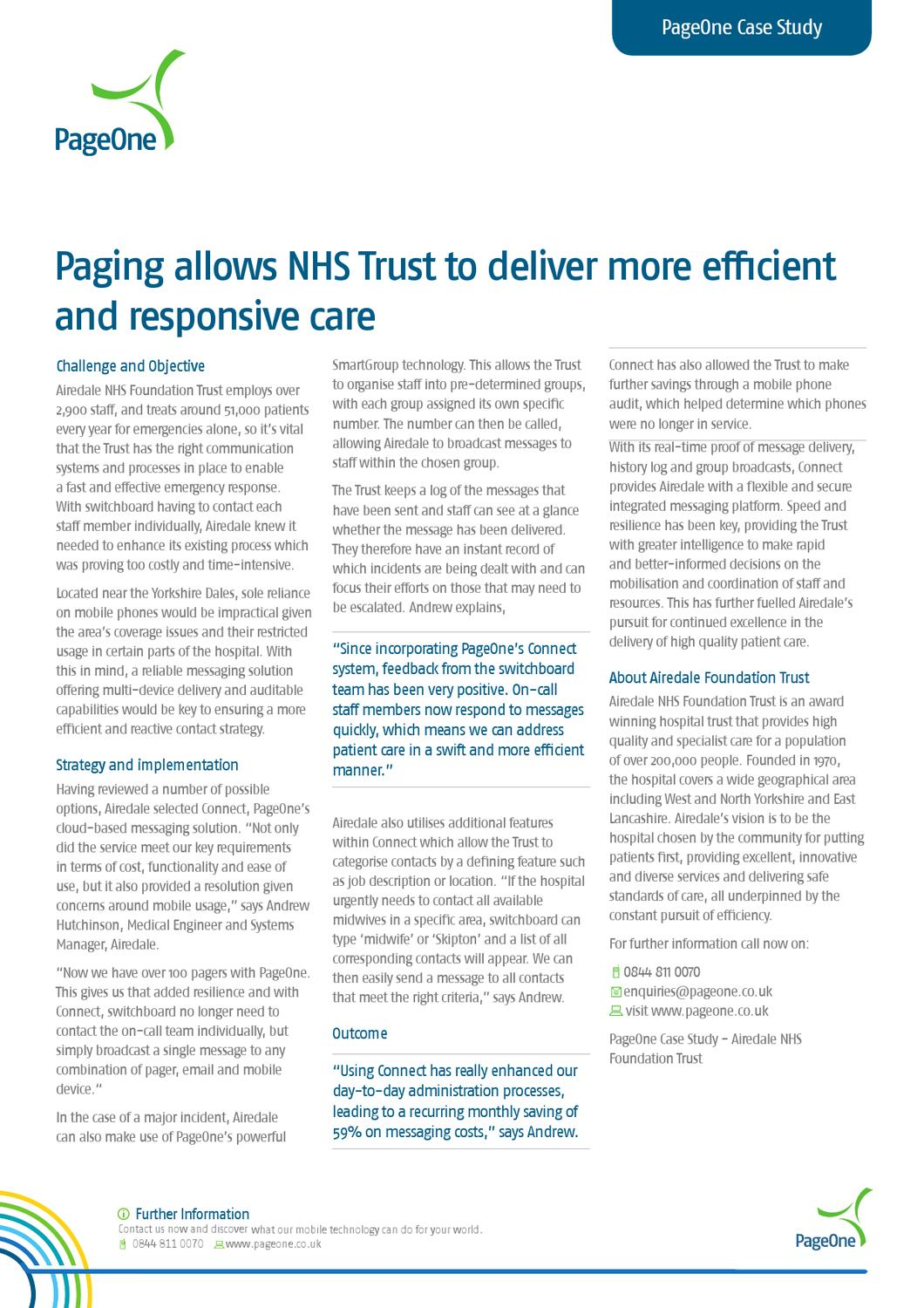paging allows nhs trust to deliver more effcient and
