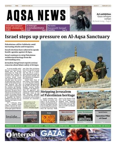 Aqsa News, Issue 51, February 2013 by Friends of Al Aqsa - issuu