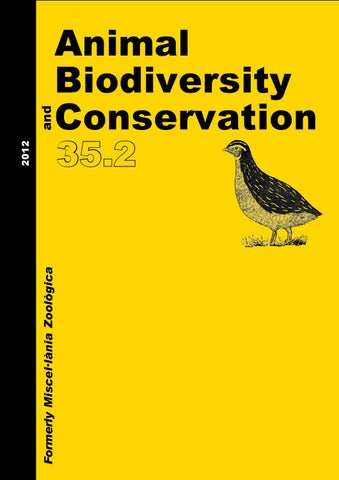 Animal Biodiversity And Conservation Issue 352 2012 By Museu