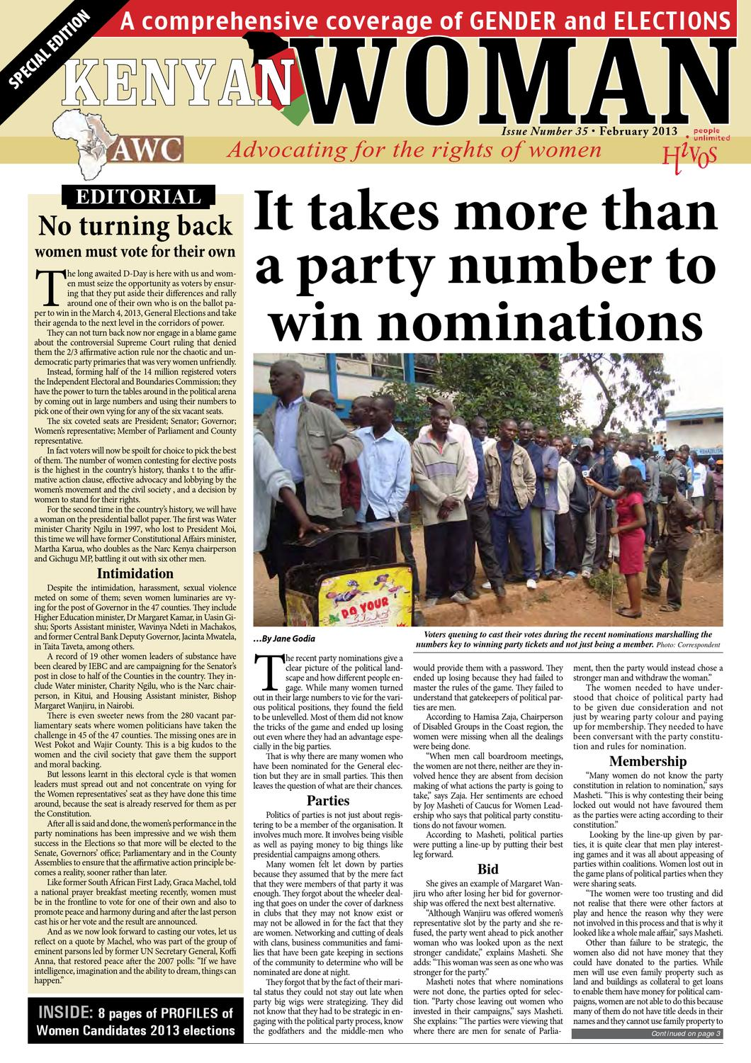 Gender & Elections special: Kenyan Woman Issue 35