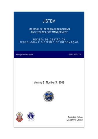 e831b8ce77cb JISTEM JOURNAL OF INFORMATION SYSTEMS AND TECHNOLOGY MANAGEMENT REVISTA DE  GESTÃO DA TECNOLOGIA E SISTEMAS DE INFORMAÇÃO