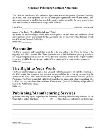 Quanaah Publishing Contract Agreement By Saladin Allah  Issuu