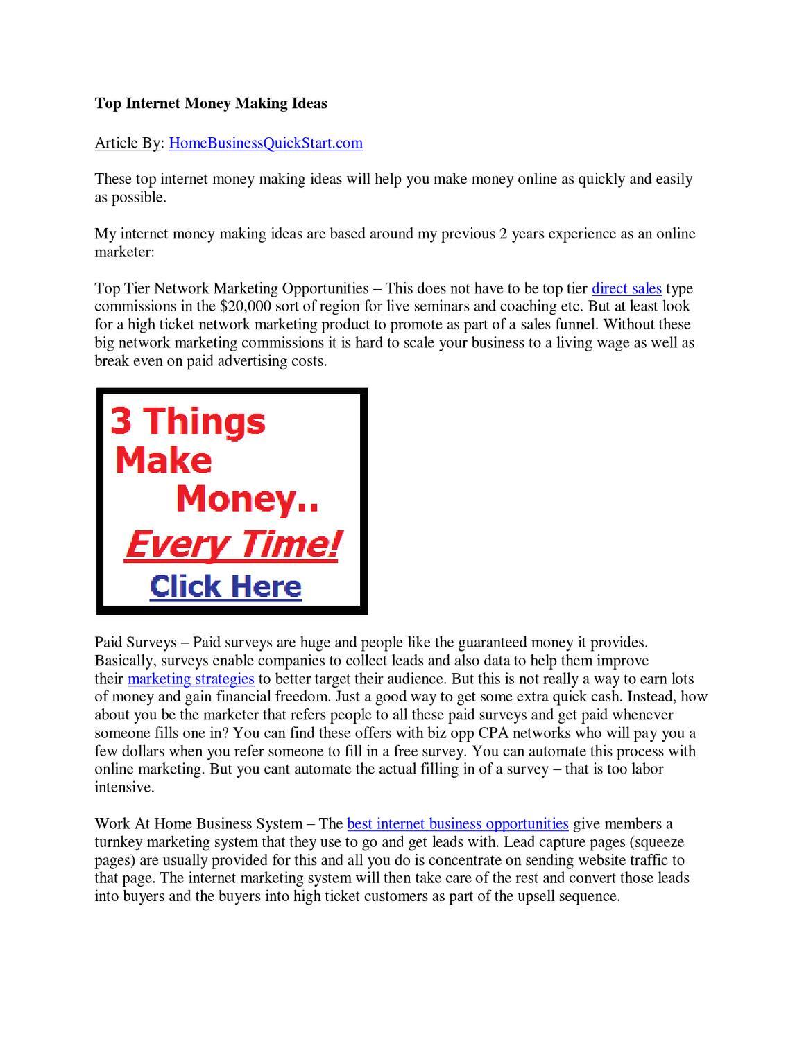Top Internet Money Making Ideas by bestonline marketingideas - issuu