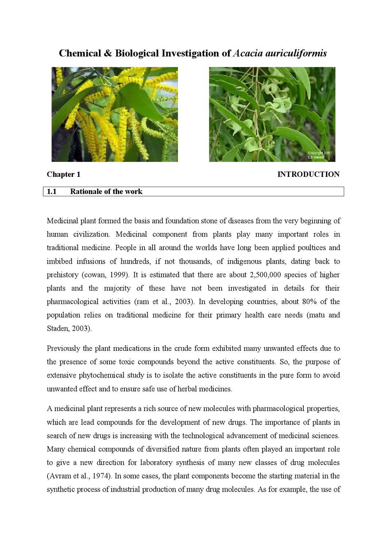 Chemical & Biological Investigation of Acacia auriculiformis