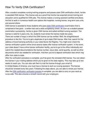 How To Verify CNA Certification_ by Susan Maynard - issuu