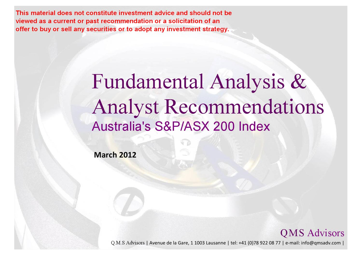 fundamental equity analysis analyst recommendations australia s