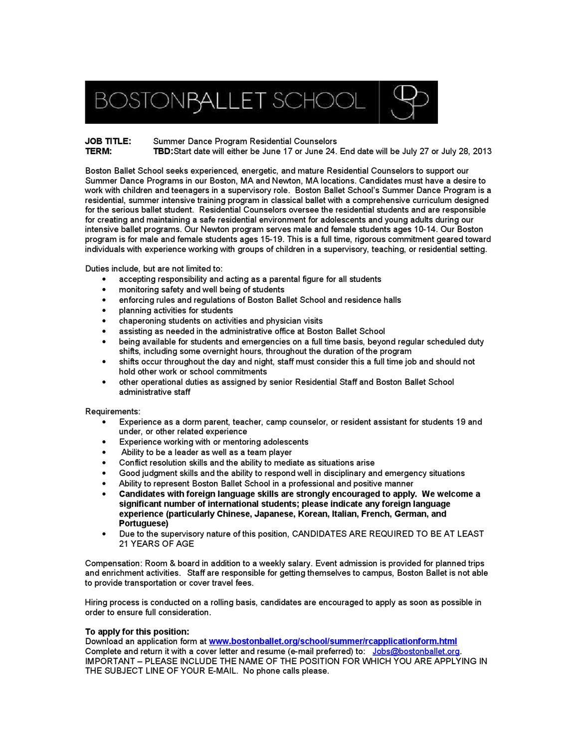Summer 2013 Residential Counselors for Boston Ballet School ...