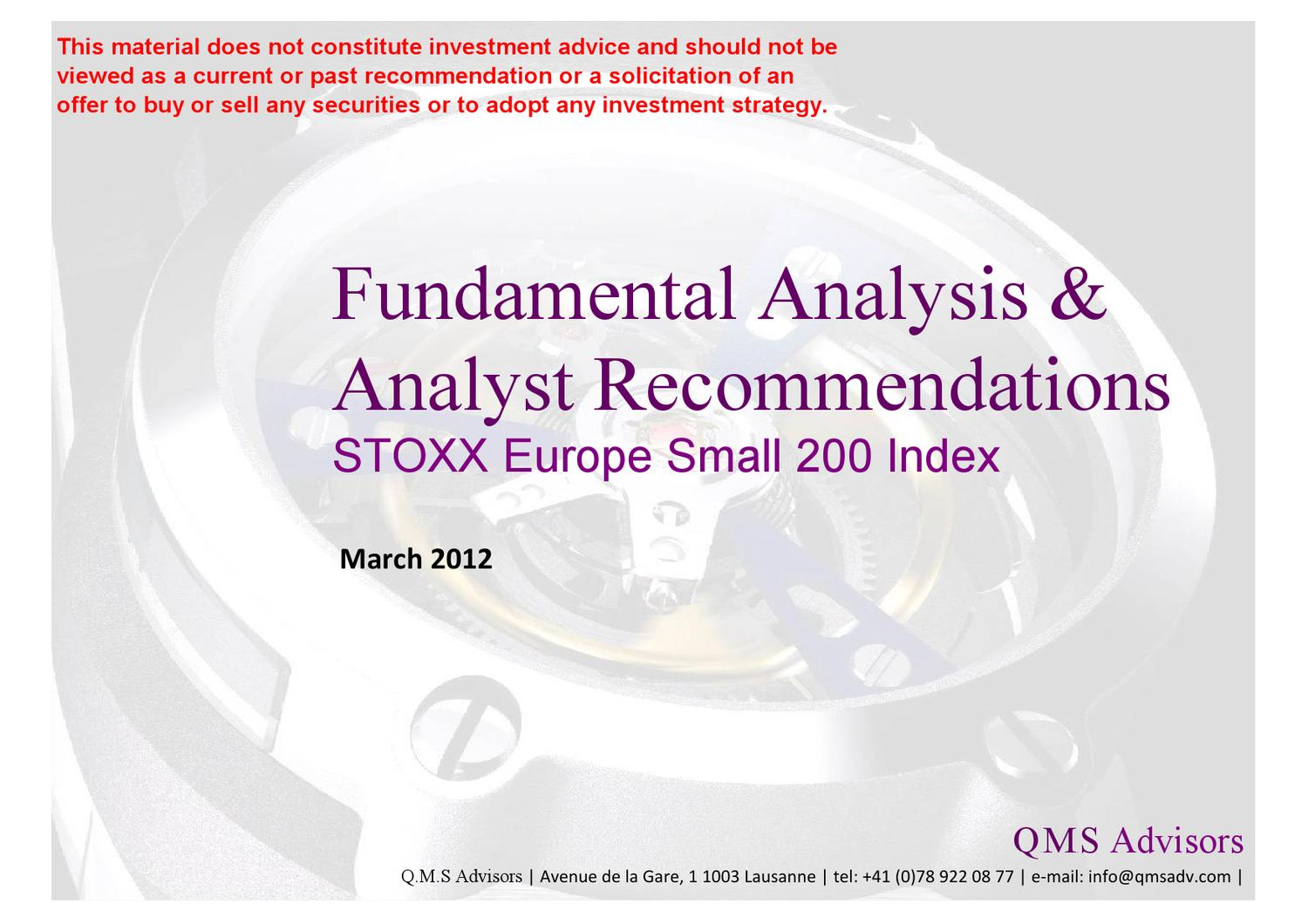 Fundamental Equity Analysis Analyst Recommendations Stoxx  # Muebles Battistin