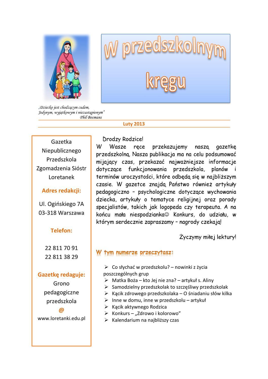 W Przedszkolnym Kręgu Luty 2013 By Przedszkole S