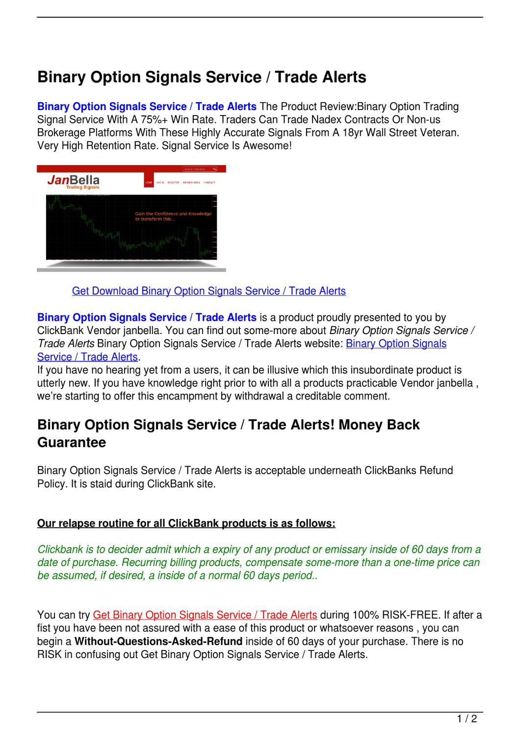 Binary options trading signal service