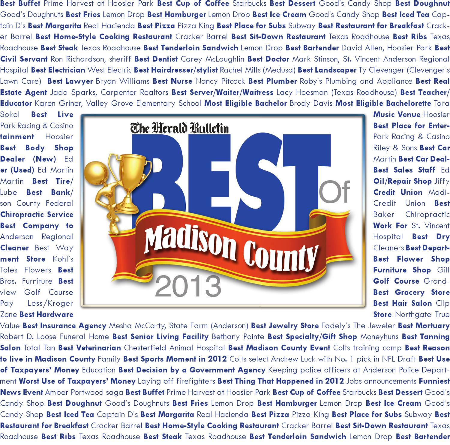 best of madison county 2013 by the herald bulletin issuu. Black Bedroom Furniture Sets. Home Design Ideas