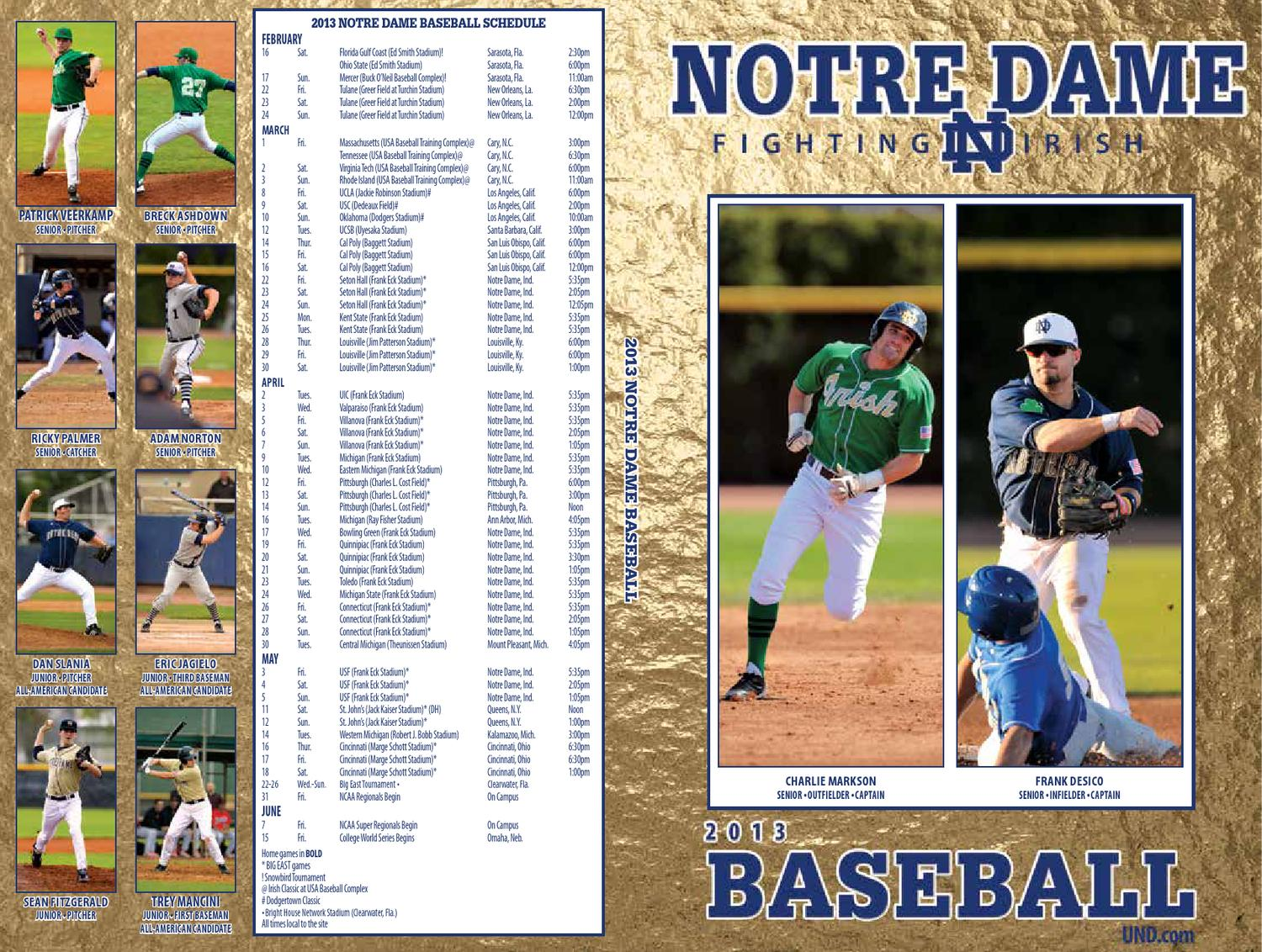 low priced 4559f 9ab42 2013 University of Notre Dame Baseball Media Guide by Chris Masters - issuu