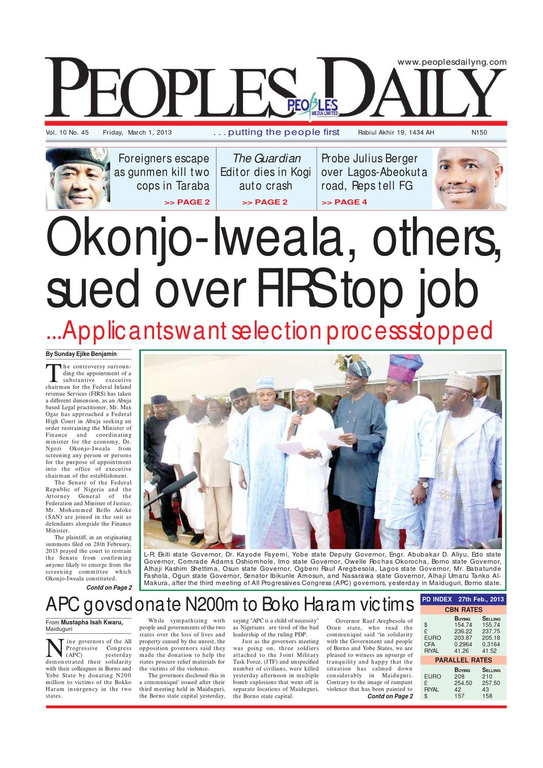 Peoples Daily Newspaper, Friday 01, March, 2013 by Peoples