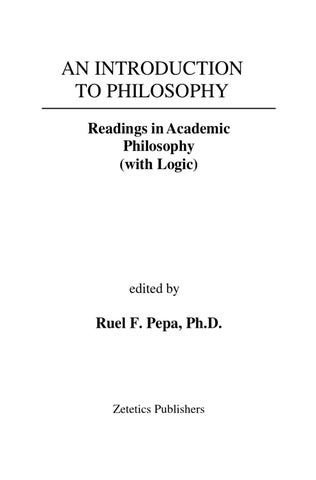 Introduction To Philosophy With Logic By Ruel F Pepa Issuu