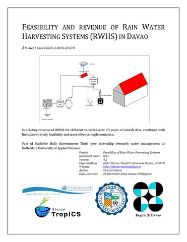 Feasibility and revenue of rain water harvesting in Davao City by
