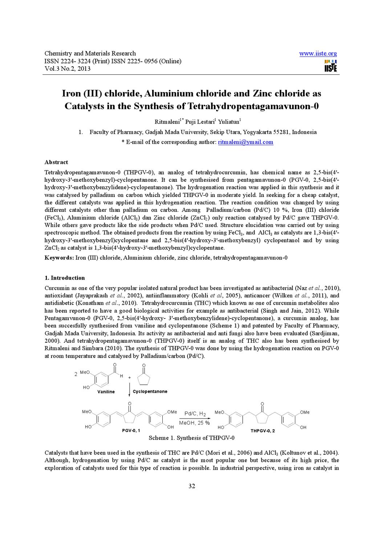 Iron (III) chloride, Aluminium chloride and Zinc chloride as by