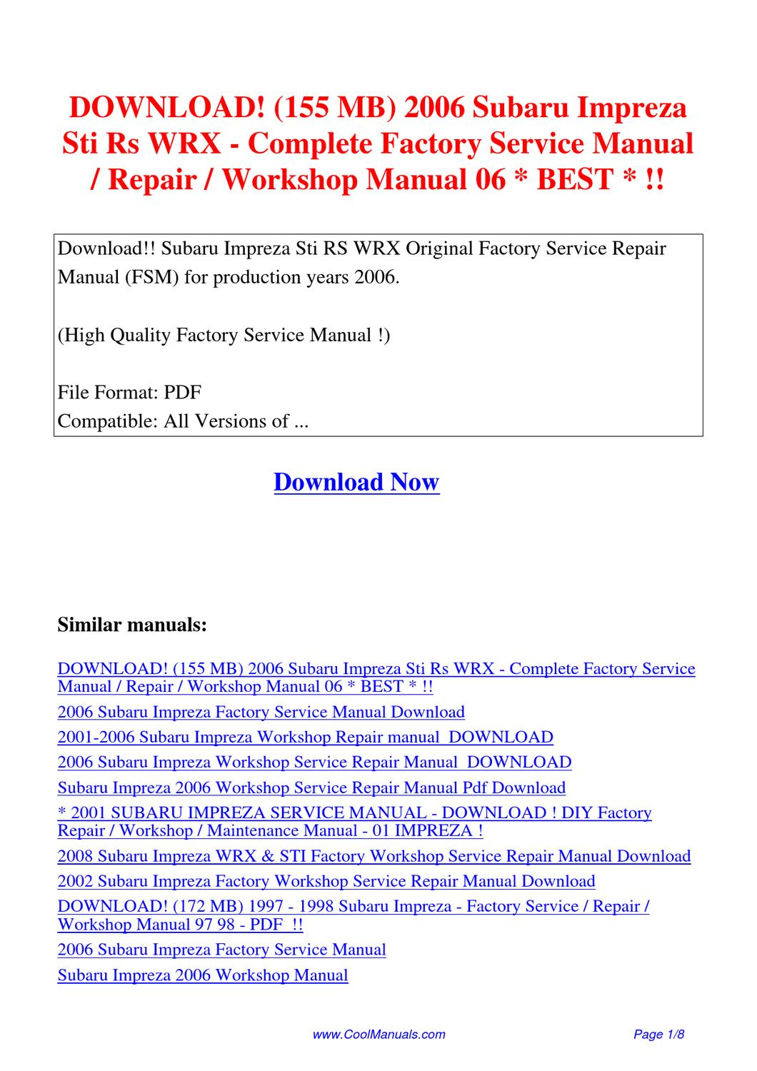 Subaru Wrx 1993 1996 Workshop Service Repair Manual Auto Wiring Ruud Diagram Uomb 084c 155 Mb 2006 Impreza Sti Rs