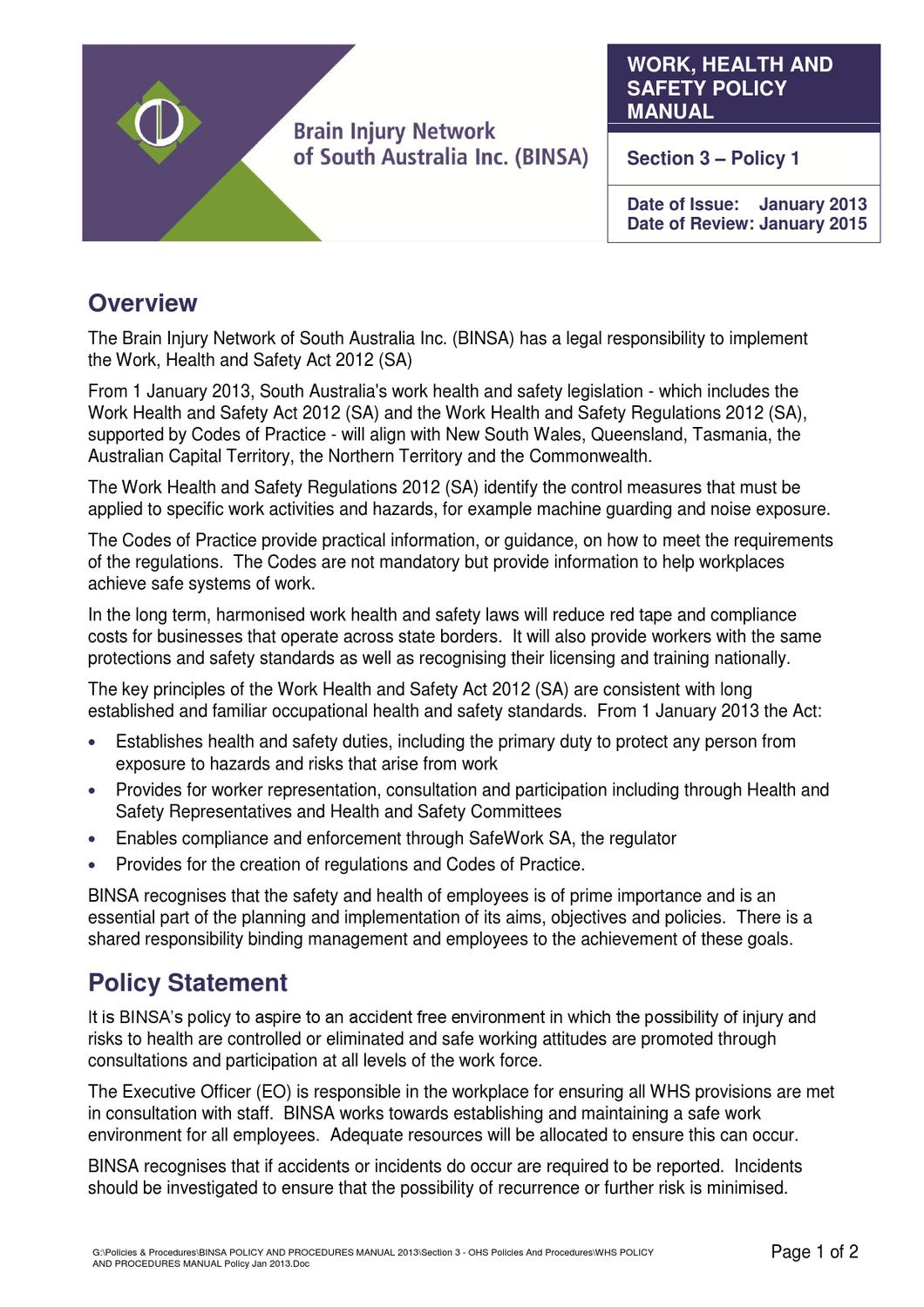 whs policy by brain injury network of south australia inc issuu rh issuu com work health and safety procedure manual cargill's environment health and safety policy and corporate procedure manual