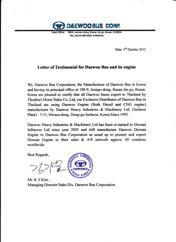 Letter of Testimonial for Daewoo Bus and its engine by Chaiwat ...