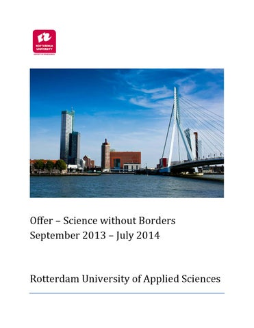 brochure science without borders 2013 2014 by hogeschool rotterdam