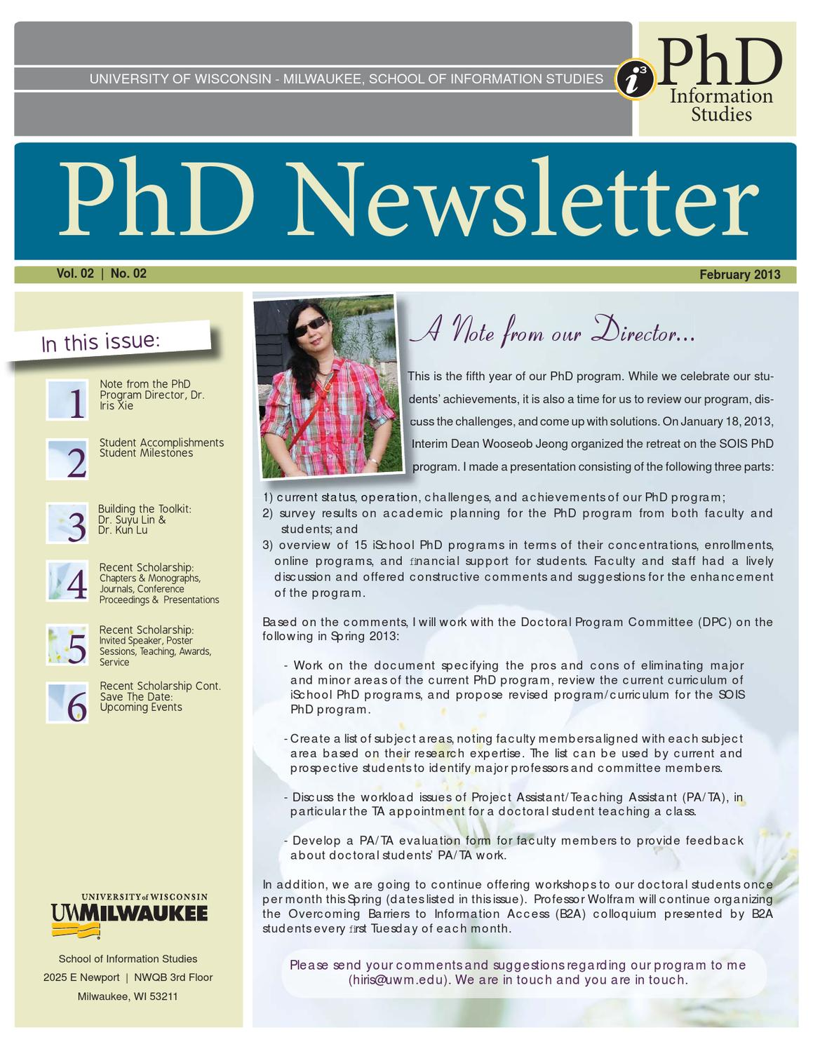 PhD Newsletter - Spring 2013 by UW-Milwaukee, School of