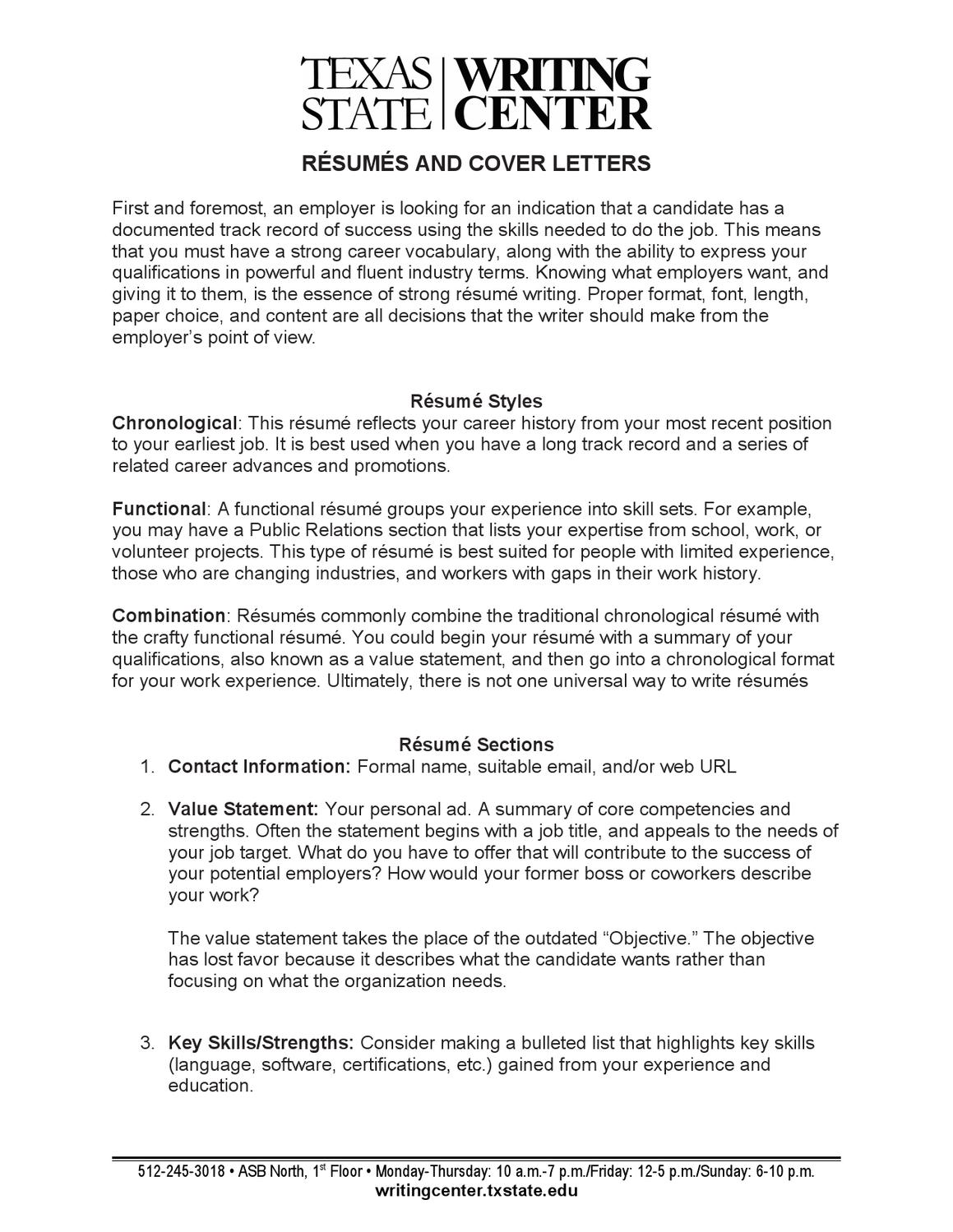 resume coverletter by Texas State Writing Center - issuu