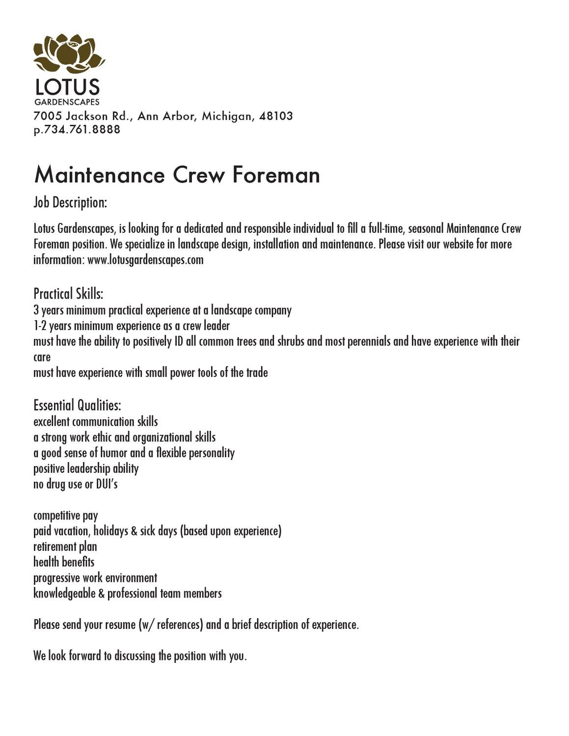 maintenance crew foreman by lotus gardenscapes inc issuu