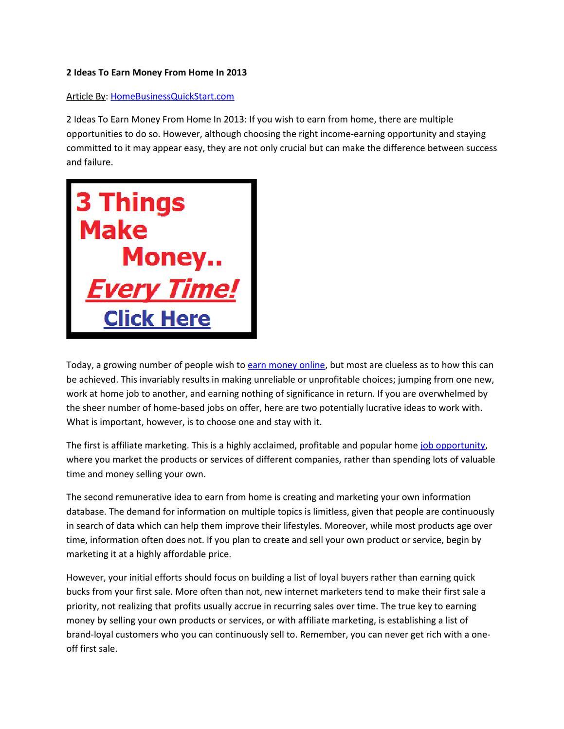 2 Ideas To Earn Money From Home In 2013 by bestonline marketingideas ...