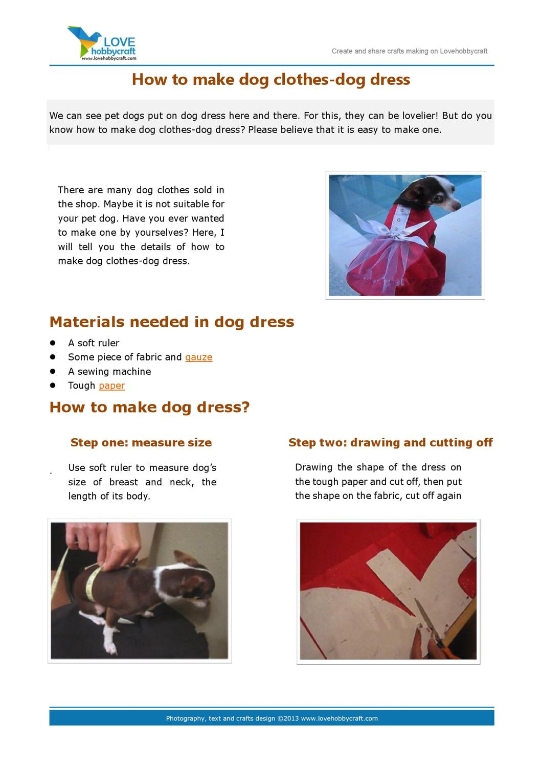 How to make dog clothes dog dress by green ada issuu for How to make a shirt for your dog