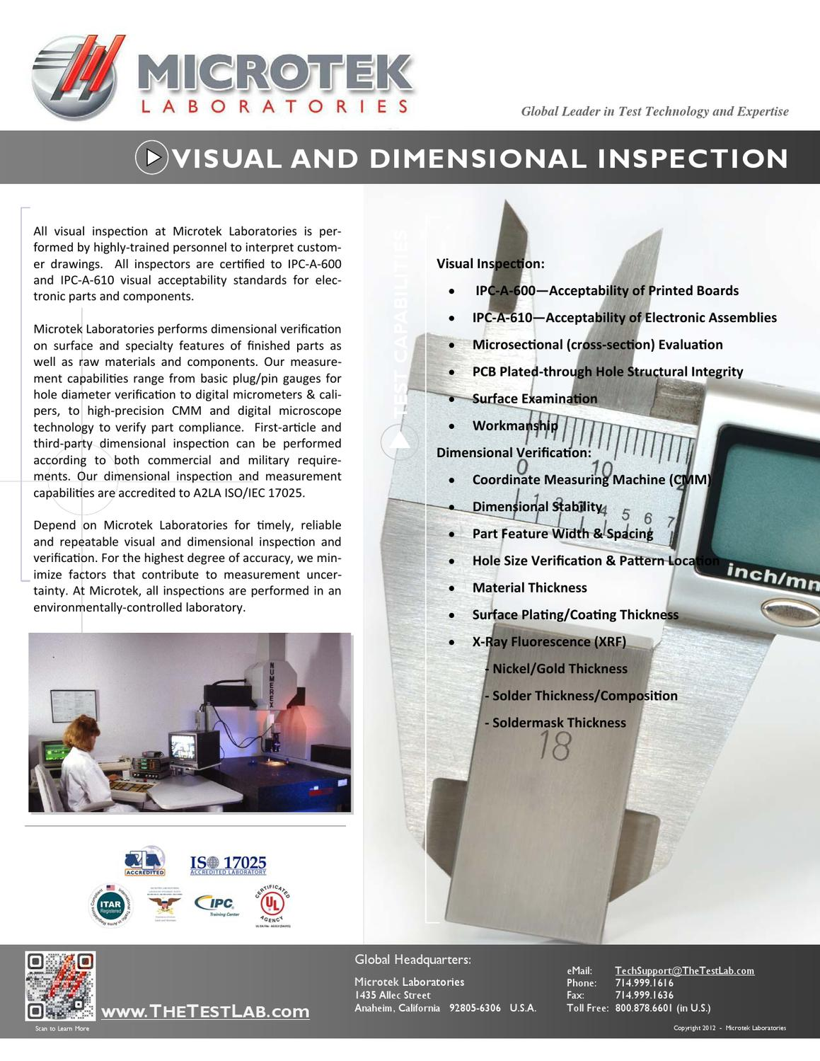 Visual and Dimensional Inspection - 1-2013 by Microtek