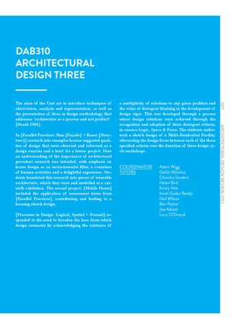 Page 29. DAB310 ARCHITECTURAL DESIGN THREE
