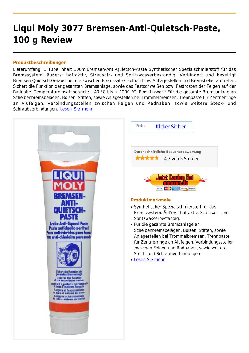 liqui moly 3077 bremsen anti quietsch paste 100 g by. Black Bedroom Furniture Sets. Home Design Ideas