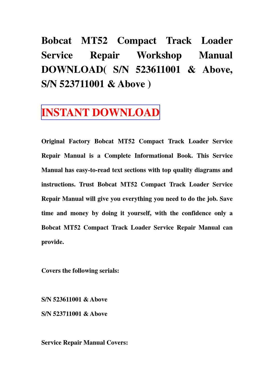 Bobcat MT52 Compact Track Loader Service Repair manual