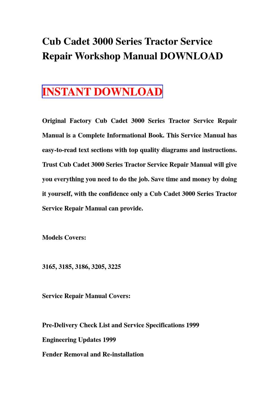 ... Array - cub cadet 3000 series tractor service repair workshop manual rh  wiring diagram edu fr