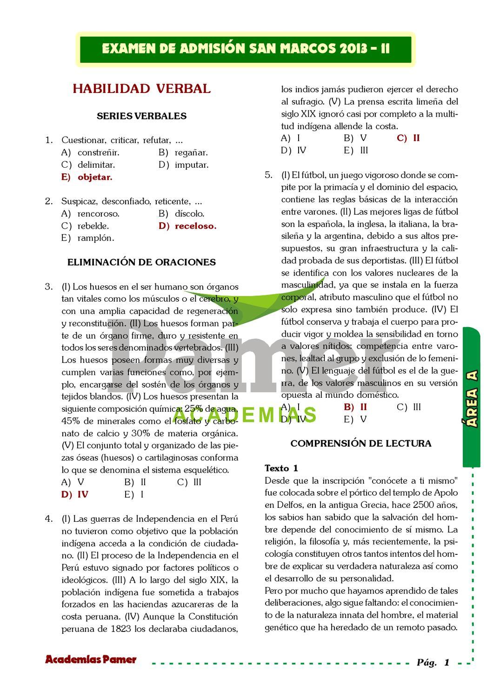 Examen de Admisión UNMSM 2013-II (Solucionado) by Ricardo A. M - issuu