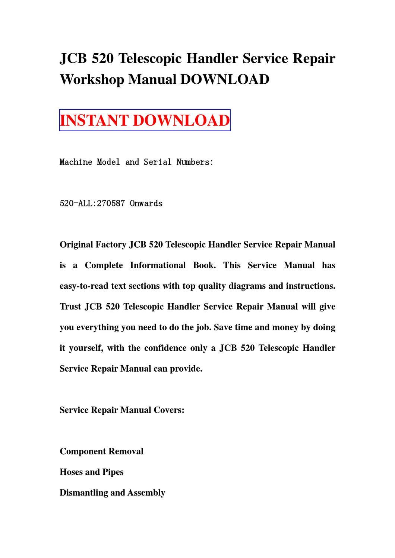 Jcb 520 Telescopic Handler Service Repair Manual Workshop Download By Sg Trr