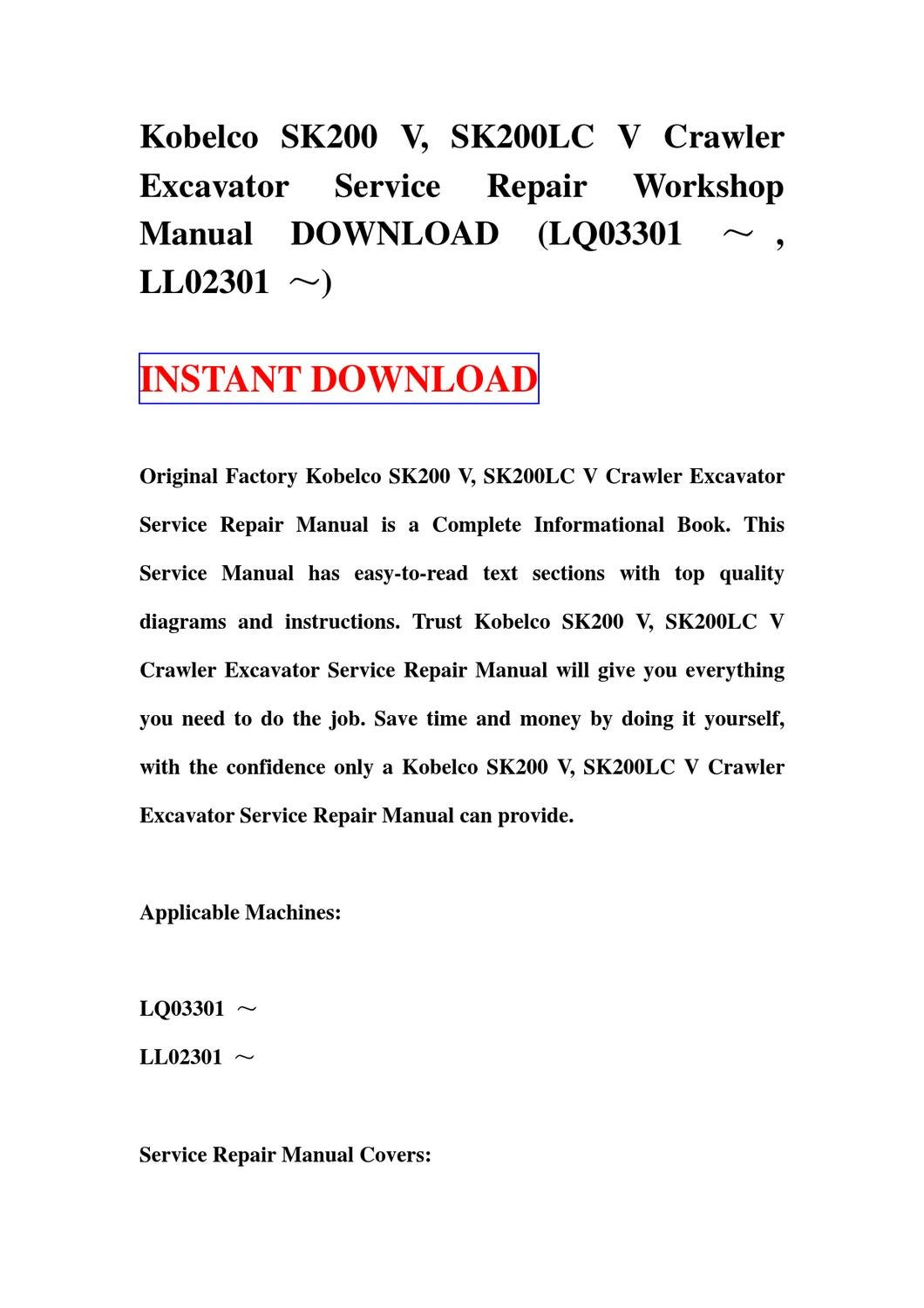 Kobelco Sk200 V  Sk200lc V Crawler Excavator Service Repair Manual Workshop Download  Lq03301