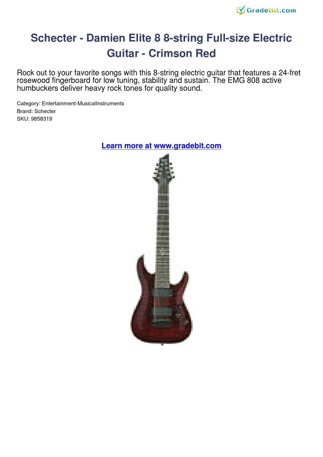 schecter damien elite 8 8 string full size electric guitar crimson red review by gradebit by tom. Black Bedroom Furniture Sets. Home Design Ideas