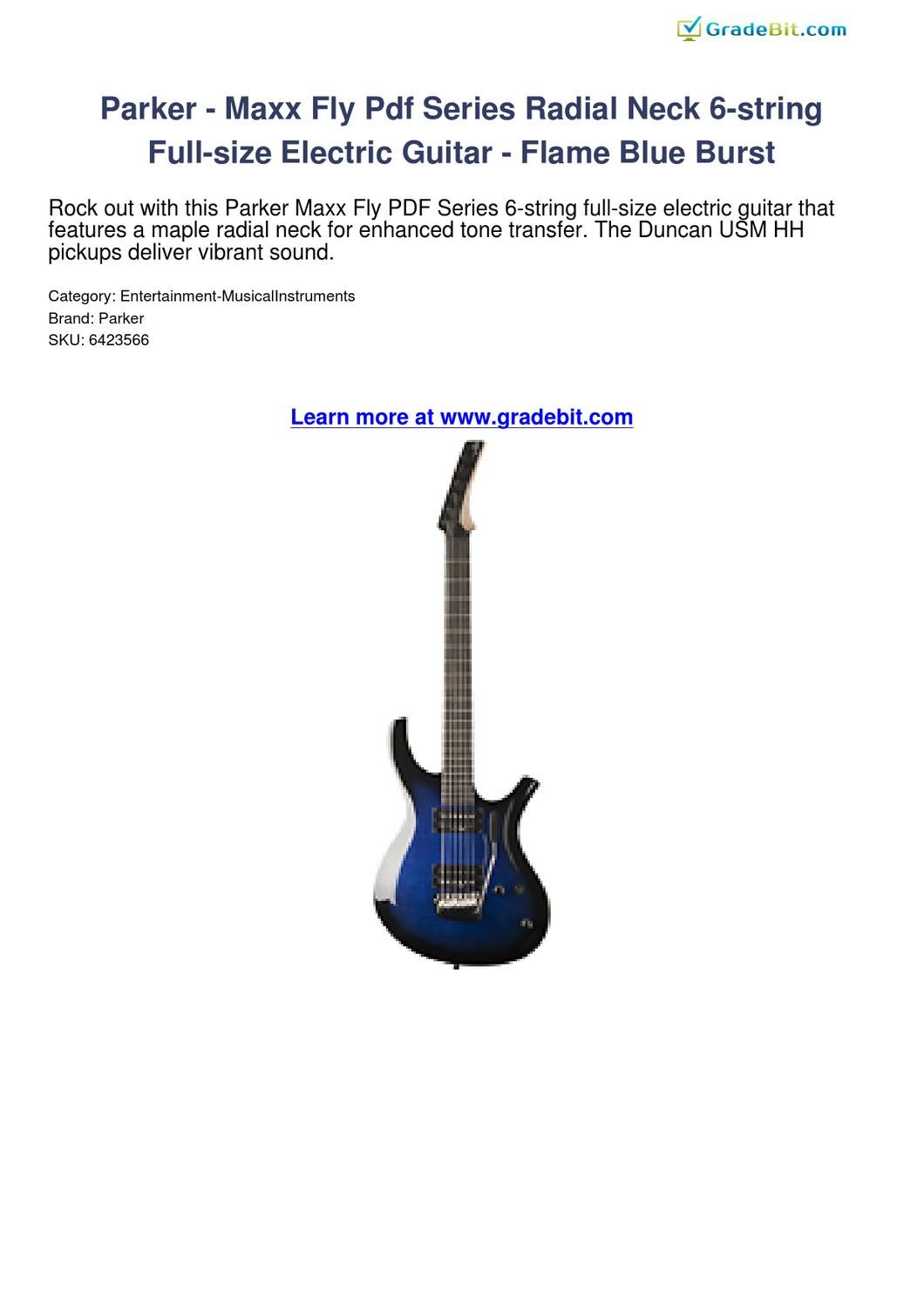 Parker Maxx Fly Pdf Series Radial Neck 6 String Full Size Electric