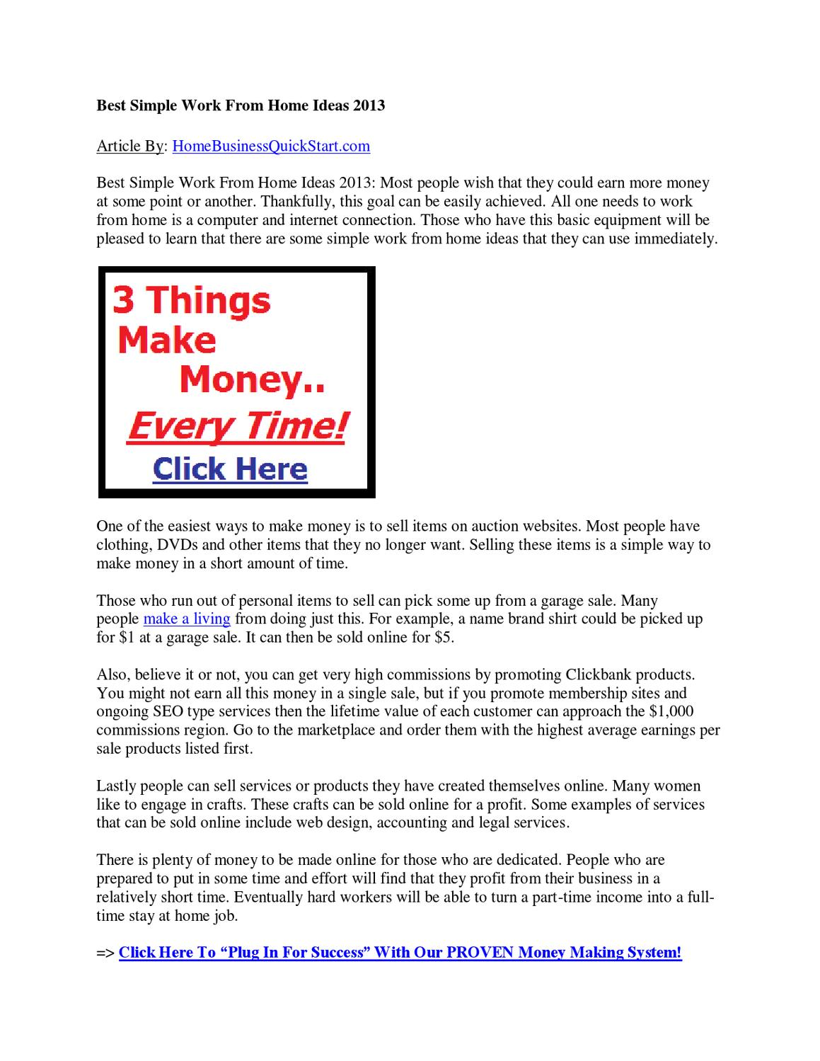 Best Simple Work From Home Ideas 2013 by affiliate marketingideas ...