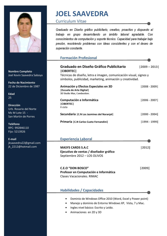 Famoso Muestra Del Curriculum Vitae Del Técnico Informático Cresta ...