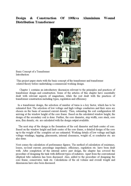 Design construction of 100kva aluminium wound distribution design construction of 100kva aluminium wound distribution transformer by regan rose issuu greentooth Gallery
