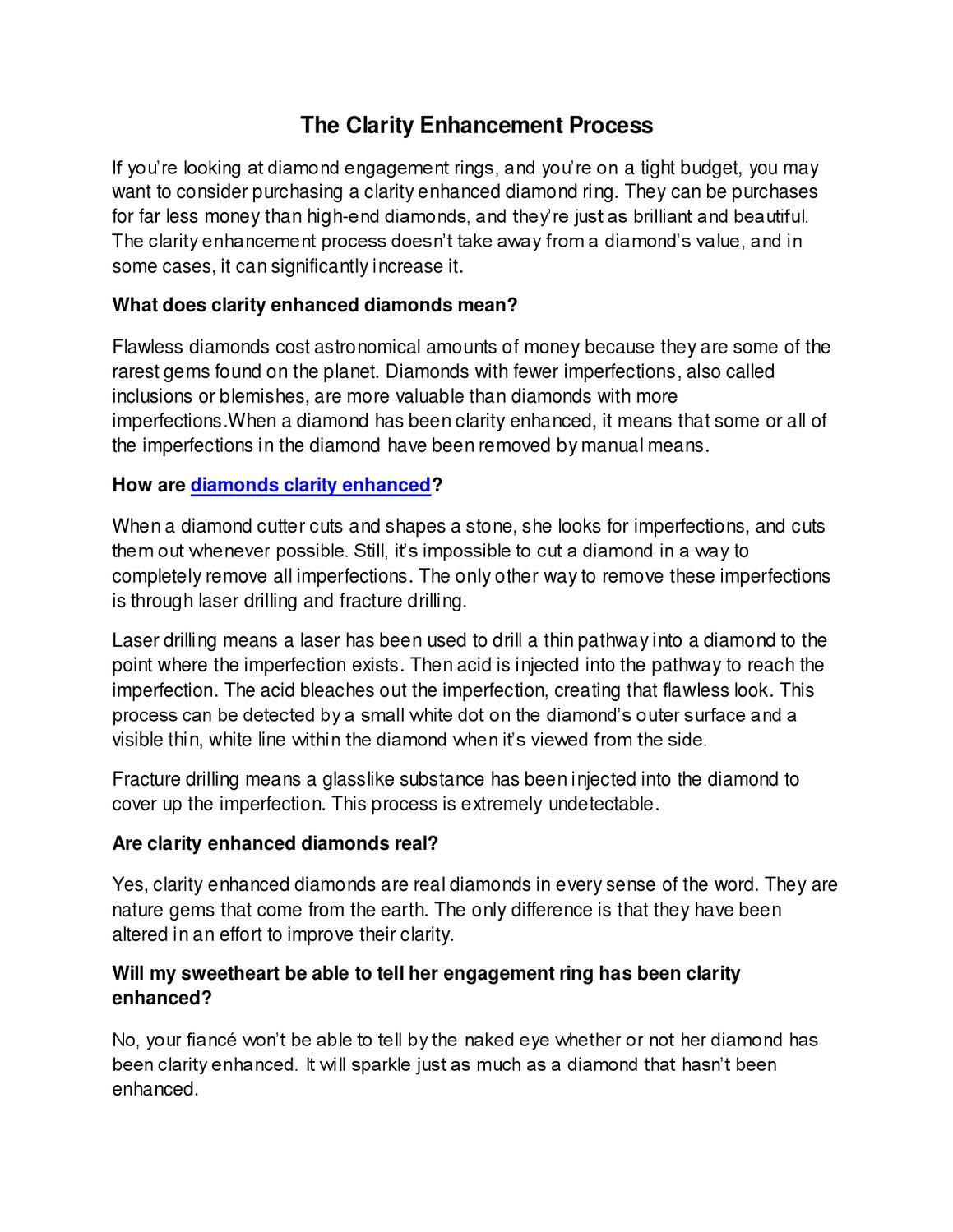The Clarity Enhancement Process By Liz Evans Issuu