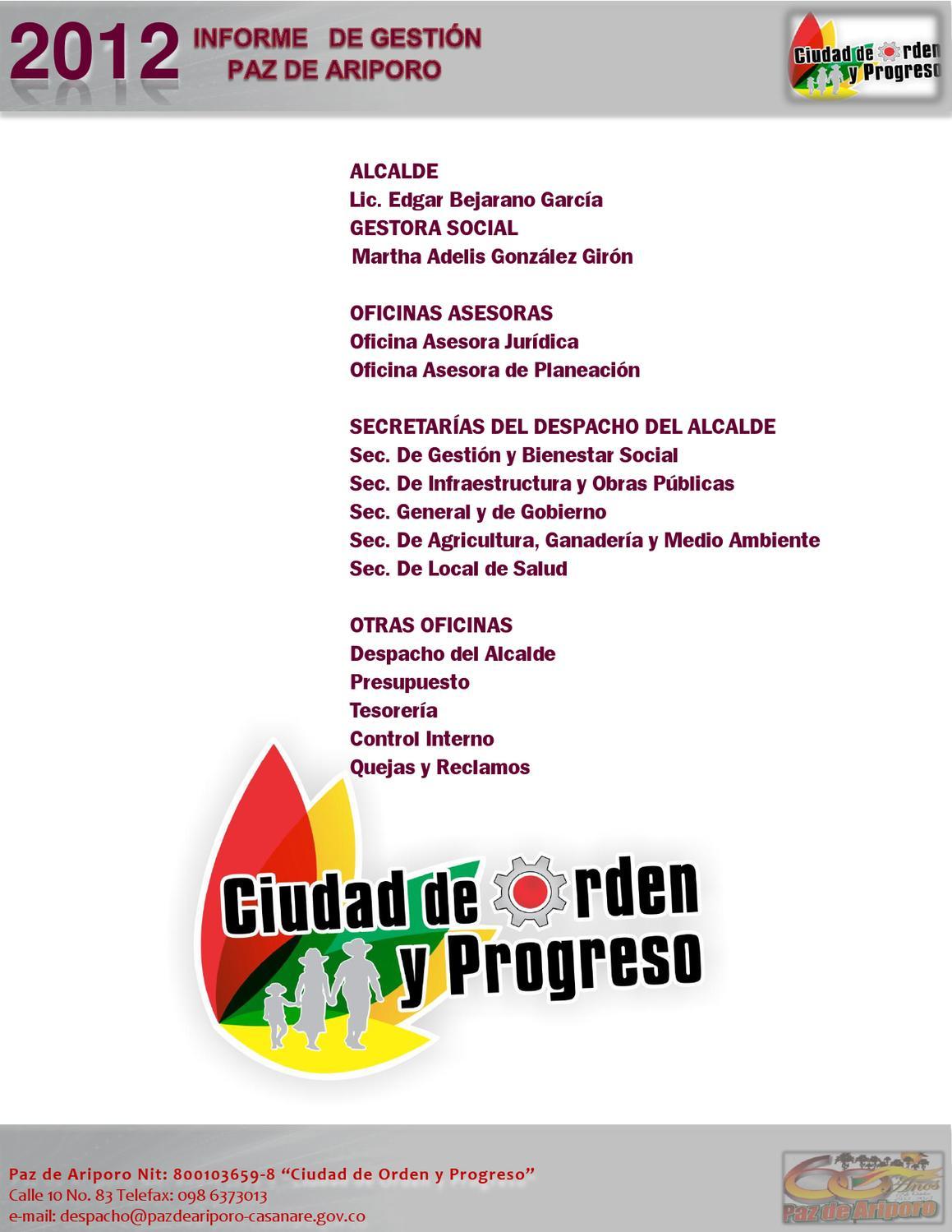 INFORME RENDICION CUENTAS 2012 ALCALDIA DE PAZ DE ARIPORO by Daniel ...