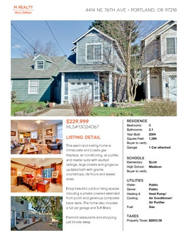 4414 Ne 76th Ave Portland Or 97218 By M Realty Issuu