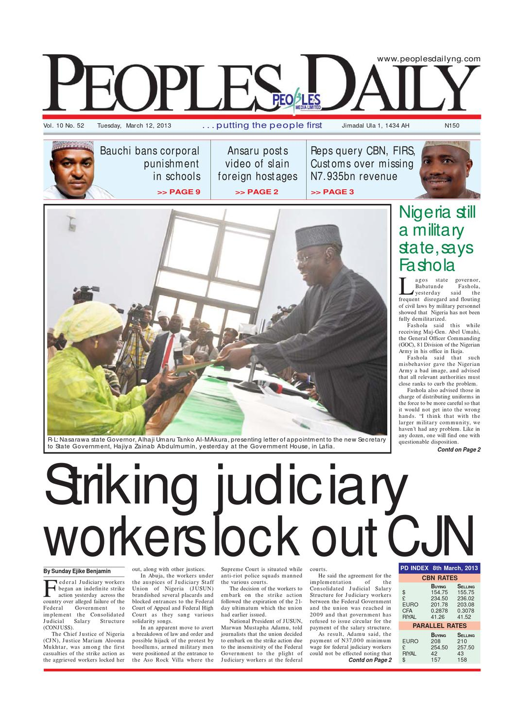 Peoples Daily Newspaper, Tuesday 12, March, 2013
