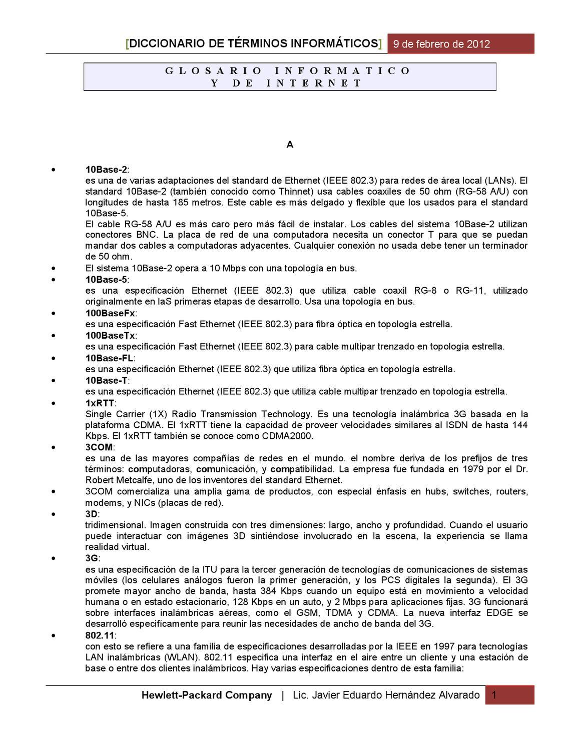 GLOSARIO DE TERMINOS INFORMÁTICOS E INTERNET by JAVIER HERNANDEZ ...