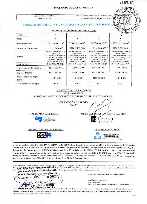 Prospecto ENLIT VCD by Bolsa de Valores de Quito - issuu