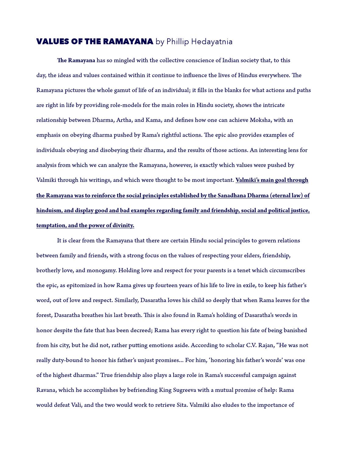 Values Of The Ramayana Essay By Phillip Hedayatnia  Issuu  Buy Essay Papers also Business Plans Writing Services  My Hobby Essay In English