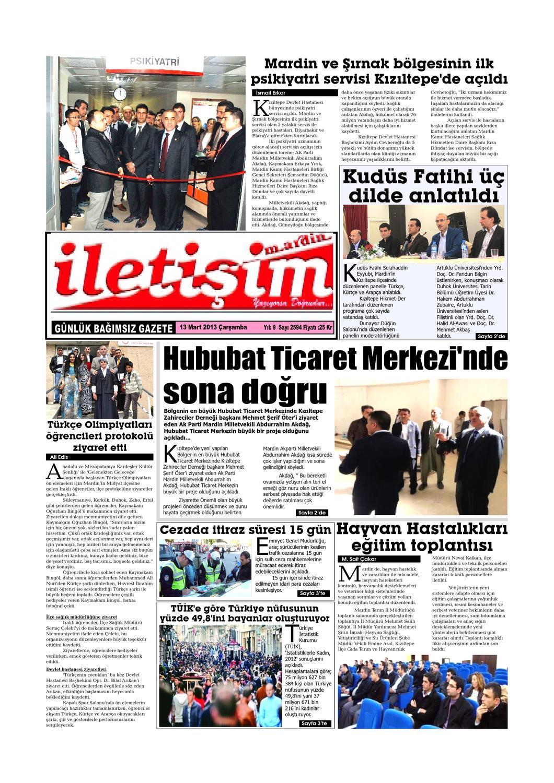 13 Carsamba 2013 Gazete Sayfalari By Mardin Iletisim Gazetesi Issuu